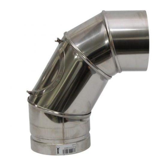 Schoorsteenpijp met bocht voor schoorstenen van 150 mm