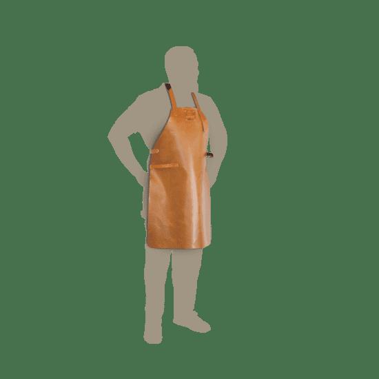 Bruinleren keukenschort