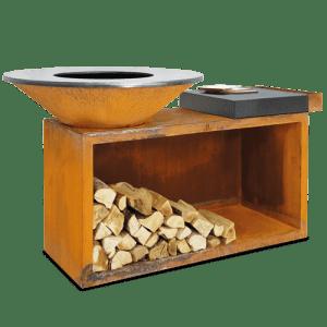 Opslag voor hout met een keramische hakblok
