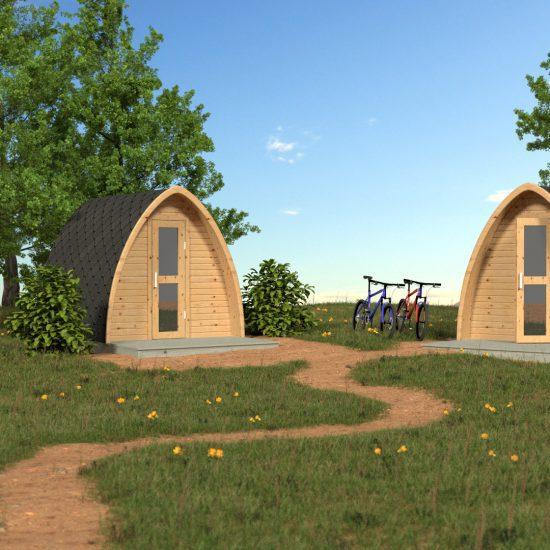 Bastuga elektrische buitensauna met paraboolvormige dak